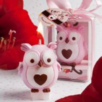 Adorable Pink Owl Candle Favour